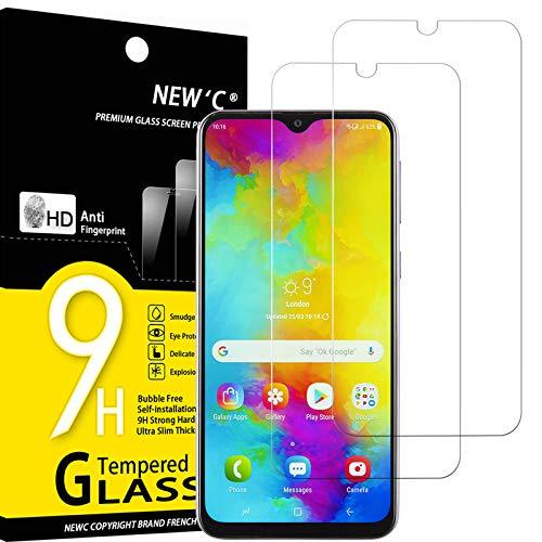 NEW'C 2 Unidades, Protector de Pantalla para Samsung Galaxy M20, Galaxy M10, Antiarañazos, Antihuellas, Sin Burbujas, Dureza 9H, 0.33 mm Ultra Transparente, Vidrio Templado Ultra Resistente