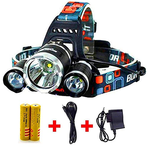 Headlamp,Headlight,Hard Hat Light 20000 Lumens IMPROVED Cree Led Ultra Bright Rechargeable Waterproof Flashlight Head Light for Camping,Outdoors(Charging equipment and Battery) Included (Silver)