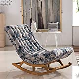YLCJ Leisure Rocking Chair Recliner Solid Wood Elderly Pregnant Woman Balcony Single Sofa Chair Lazy Sofa Single Chaise Lounge Chair Leisure Lunch Break Chair (Color : G)