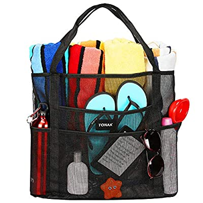 Mesh Beach Bag Toy Tote Bag Grocery Storage Net Bag Oversized Big XL with Pockets Foldable Lightweight for Family Pool Black Color