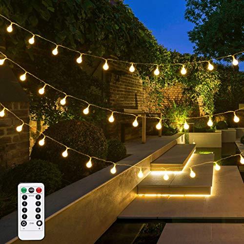 Lepro Lichterkette Kugel 5M 50er LED Dimmbar, Batteriebetrieben mit Fernbedienung, 8 Lichtmodi, Zeitschaltuhr und Merkfunktion, Warmweiß, ideale Weihnachtsbeleuchtung für Innen, Zimmer, Party, Deko