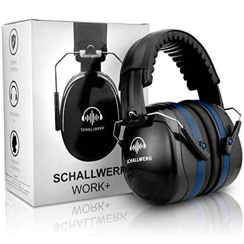 SCHALLWERK ® - Work+ Arbeitsgehörschutz – Größenverstellbare Kapselgehörschützer - Dämpft Lärm & schützt Gehör– Ideal beim Arbeiten & im Alltag - Arbeit Gehörschutz Gehörschutzstöpsel Arbeitsschutz