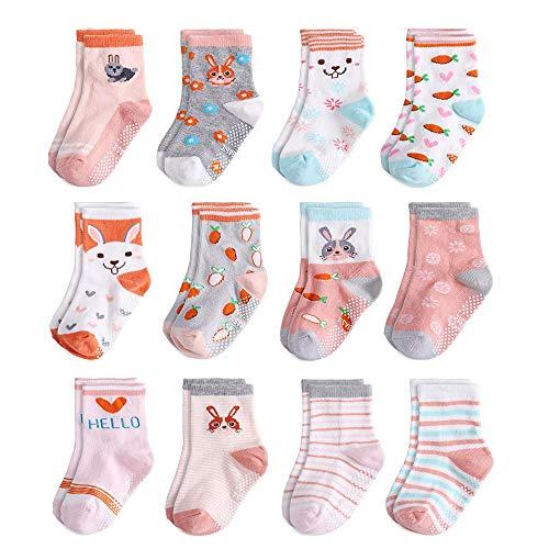 Yafane 12 Paar Baby Socken Antirutsch Anti-Rutsch Neugeborenes Kinder Kleinkinder Babysocken Rutschfest für Baby Jungen und Mädchen (Rosa, 1-3 Jahre)
