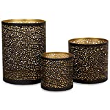 Lazy Gifts Set of 3 Black and Gold Metal Decorative Hurricane Votive Candle Holders . Elegant Lantern Style Centerpiece - Accents for Weddings Functions and Home décor Room