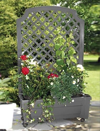 KHW Garden Pflanzkasten Calypso mit Bewässerungssystem, Spalier und Rollen, grau, 79x 35x 134cm