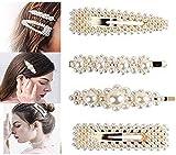 Fermagli per capelli da donna, con perle, ideali per realizzare acconciature, per compleanni, San Valentino o come regalo, 4 pezzi