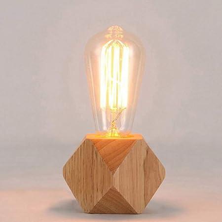 Mengjay Lampe de table moderne E27 Lampe de bureau en bois Lampe de chevet de diamant pour decoration de maison/chambre a coucher/salon Base en bois