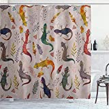 POJINNLA 54' x 78' Shower Curtain Water Soap Resistant Cartoon Lizard Reptile herbivorous Species Decor Bathroom Set Cloth with 12 Hooks