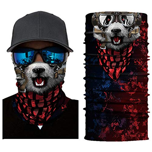 Stoota Cat Print Face Mask, Rave Bandana, Neck Gaiter, Scarf, Summer Balaclava for Dust Wind UV Protection -  Brown -  10W x 20L