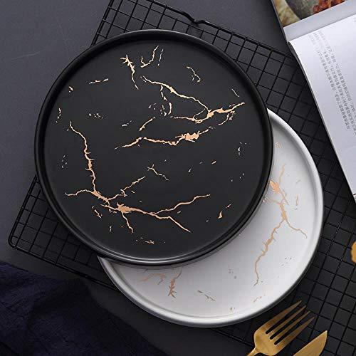 WSHP-plate Assiette Assiettes Assiettes 20 Cm Or Noir Blanc Marbre En Céramique Plaque Assiette En Porcelaine Set Table De Cuisine Style Européen Décoration Dessert Steak Plate, Noir