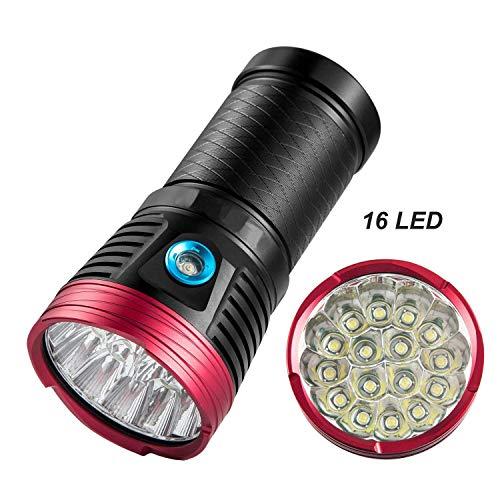 LED Taschenlampe Extrem Hell 12000 lumen Hochleistungs Taktische LeistungsstarkeTaschenlampe mit Ultra Hell 16 x XML T6 LED(Batterie nicht enthalten)