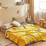 LINGBD Edredón de Verano de algodón Lavado, Lavable a máquina, Color sólido, edredón Fresco de Verano, edredón Doble...