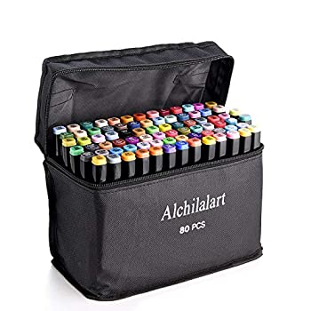 80-Colors Alcohol Based Markers Alchilalart Alcohol Markers Set Dual Tip Alcohol Sketching Drawing Markers Animation for Adults Kids
