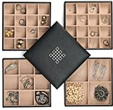 Glenor Co Earring Organizer Tray - 4 Stackable Trays with Lid -45 Slot Classic Jewelry Storage Display Case for Drawer...