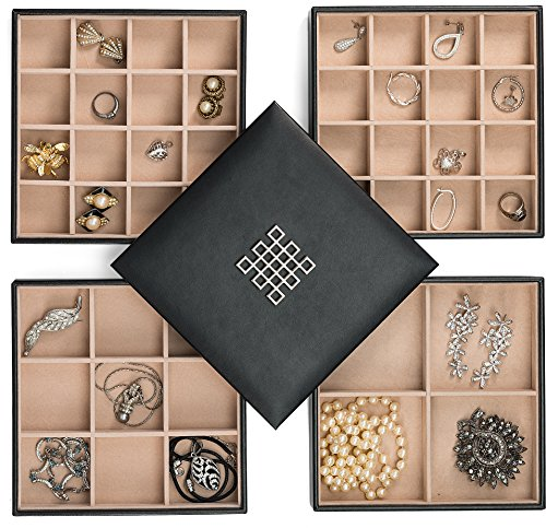 Glenor Co Earring Organizer Tray - 4 Stackable Trays with Lid -45 Slot Classic Jewelry Storage Display Case for Drawer or Dresser - Holder for Earring Ring Necklace or Cufflinks - Large Mirror - Black