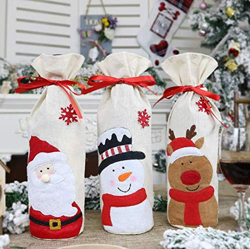 3 unids Navidad botella de vino cubierta Santa Claus Elk muñeco de nieve botella de vino abrigo antideslizante bolsa de la botella hogar cocina fiesta Navidad suministro