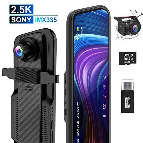 Dash Cam Specchietto ThiEYE 10' 2.5K+1080P Doppia 170° Touchscreen Telecamera per Auto Retrovisione Sensore Sony, Sensore G, Registrazione Loop, Visione Notturna, Monitor Parcheggio e Scheda SD 32GB