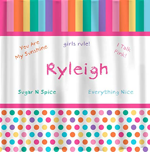 ArthuereBack Douchegordijn, gepersonaliseerd voor meisjes, pastelregenboog, personaliseerbaar
