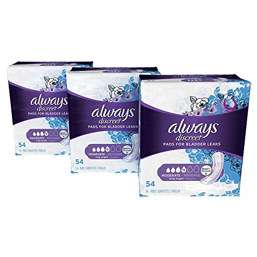 Always Discreet Incontinence amp Postpartum Incontinence Pads for Women 162 Count Moderate Absorbency Long Length 54 Count Pack of 3  162 Count Total