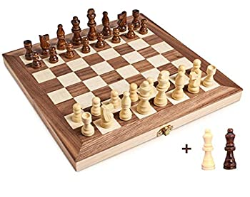 Jseraph Magnetic Wooden Chess Set Travel Chess Board Games Folding Chess and Checkers Set Game Board Interior for Storage 12 x 12