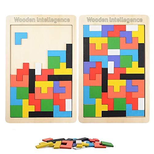 LOVEXIU Tangram Jigsaw Brain Teaser Toy(40 Piezas), 2 pcs Puzzle Tetris de Madera, Juguetes de geometría, Rompecabezas de Madera, Construcción Inteligencia Regalo Educativo para Niños
