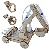 Cutefun Hydraulic Excavator 3-in-1 Wooden Kit, STEM Toys for Children Science Technology Learning Education, DIY Assembly Model Set, 3D Wooden Puzzle Craft Toy