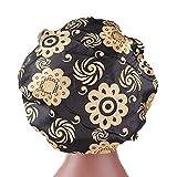 Chapeau Bonnet de Nuit Sommeil Femme en Satin Coiffure Soin Cheveux Imprimé Floral (Noir-2)