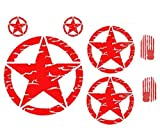 Western Star 4900 Custom Grilles - Wild Dingos LLC G0006 - Distressed Military Star 8 Decal KIT - Custom Designed for use on - Jeep Wrangler Roxor Cherokee Compass Patriot & More (RED)