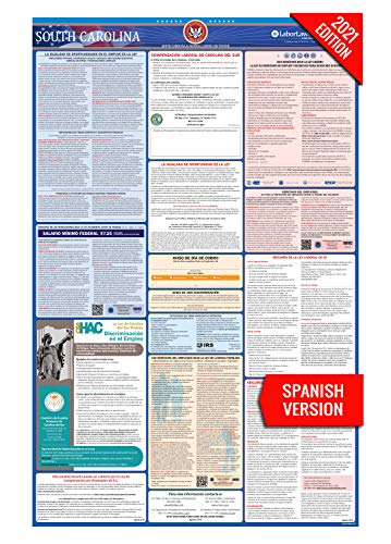 SC Labor Law Poster, 2021 Edition - State, Federal and OSHA Compliant Laminated Poster (South Carolina, Spanish)