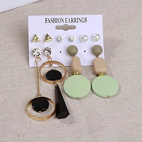 CXWK Conjunto de Pendientes para Mujer Pendientes de Perlas acrílicos con borlas para Mujer Joyería de Moda Bohemia Pendientes Colgantes geométricos