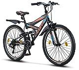 Licorne Bike Strong V 26 Zoll Mountainbike Fully, MTB, geignet ab 150 cm, V Bremse vorne und hinten,...