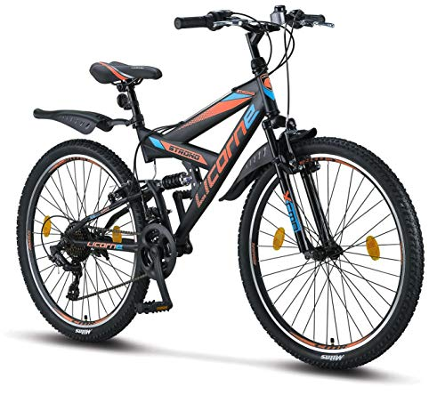 Licorne Bike Premium Mountainbike in 26 Zoll - Fahrrad für Jungen, Mädchen, Damen und Herren - Shimano 21 Gang-Schaltung - Vollfederung - Strong Bike - Schwarz/Blau/Orange