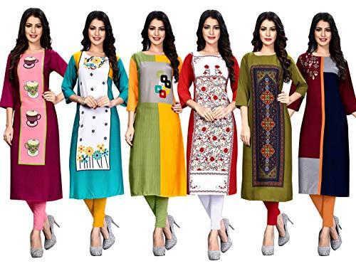 Pop Mantra Women's Crepe Straight Kurta (Pack of 6) (Premium Combo-XXL_Multi