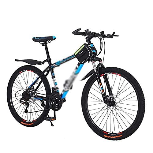 26 pollici mountain bike 21/24/27 velocità forcella ammortizzata MTB telaio in acciaio al carbonio ad alta resistenza bicicletta da montagna con freno a doppio disco per uomo e donna (taglia: 24 veloc