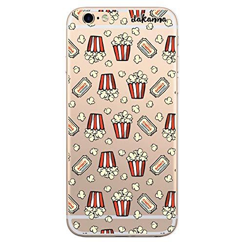 dakanna Funda para [iPhone 6 Plus - 6S Plus] de Silicona Flexible, Dibujo Diseño [Patron de Palomitas y entradas de Cine Vintage], Color [Fondo Transparente] Carcasa Case Cover de Gel TPU
