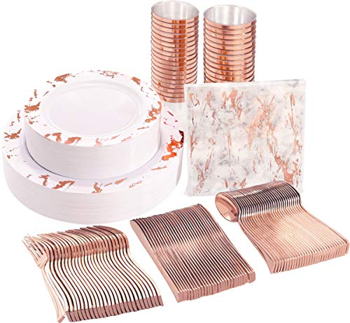 NERVURE 175PCS Rose Gold Marbling Disposable Plastic Plates and Silverware Set:25 Dinner Plates,25 Dessert Plates, 25 Forks,25 Knives, 25 Spoons, 25 Cups,25 Napkins.
