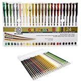 Brown Gel Pen Earth Tone Set with Extra Refills - 24 Variety Color Pack for Kids & Adult Coloring with Glitter, Shimmer and Matte Fast Drying Ink, Fine Point Tip