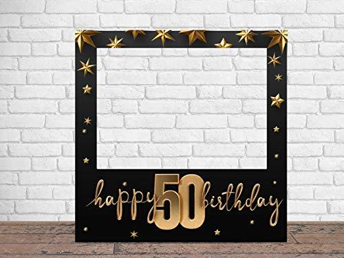 Photocall Feliz 50 Cumpleaños Estrellas 90 x 90 cm   Regalos para Cumpleaños   Photocall Económico y Original   Ideas para Regalos   Regalos Personalizados de Cumpleaños