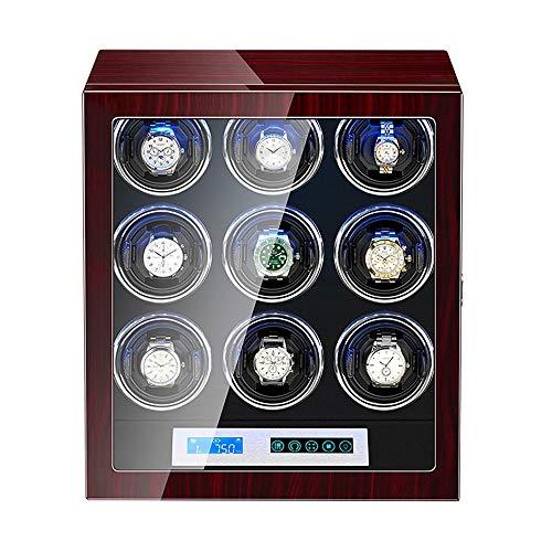WZ Uhrenbeweger Watch Winder Box für Die Automatische Uhr LCD Touchscreen Holzpianofarbe Außen Einstellbare Uhrenkissen (Size : 9+0)