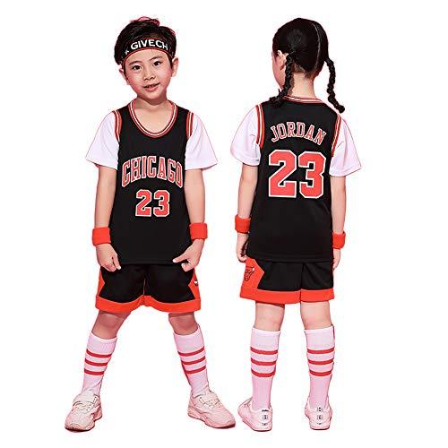 EWDS Basketballkleidung für Jungen Chicago Bulls Michael Nr. 23 Kinderbasketballshorts Sommertrikots, Trikots und Shorts-Black-L