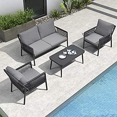 PURPLE LEAF Patio Conversation Set 4 Pieces Aluminum Frame Rope Outdoor Patio Furniture with Coffee Table, All-Weather Modern Deep Seating Sofa Set, Outdoor Patio Set with Cushions, Arona