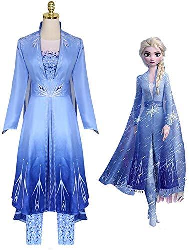 SSYYY Erwachsene ELSA Schneekönigin Kleid Halloween Cosplay Kostüm Frauen Weihnachtsfeier Kleid Fee Kostüm Anzug 4 Stücke,L