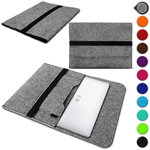 Nauci Laptop Schutzhülle für Trekstor Primebook C13 / P14 / P14B / P13 aus Filz mit Innentaschen Sleeve Hülle Tasche Cover Notebook Hülle Tasche, Farbe:Hell Grau