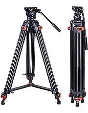 Trípode de trabajo pesado profesional de aluminio 72 pulgadas con cabezal de fluido de 360 grados para cámaras Canon Nikon DSLR videocámara