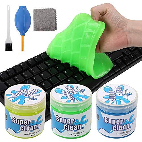 L LONGANCHANG Tastatur Reinigung 3 Stück, Reinigungsknete Staubreinigungsschlamm für Laptop Tastaturen Drucker Lüftungsschlitze Auto und Andere Robuste Kunststoffoberflächen, Blau/Gelb/Grün, MEHRWEG