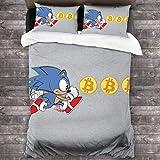 Kinhevao Sonic The Hedgehog Bitcoin Grab Juego de Cama de 3 Piezas Funda nórdica, Juego de Cama Decorativo de 3 Piezas con 2 Fundas de Almohada C10710