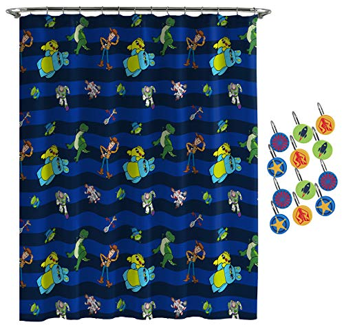 Jay Franco Disney Pixar Toy Story Buzz & Woody Shower Curtain & 12-Piece Hook Set & Easy Use - Kids Bath - (Official Disney Pixar Product)