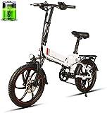 Bicicleta eléctrica de nieve, Pantalla de bicicleta eléctrica plegable 350W E-Bici del motor 48V 10.4AH de iones de litio LED for Adultos Hombres Mujeres E-MTB Batería de litio Playa Cruiser para adul