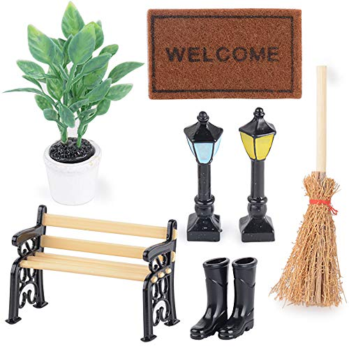 Kit de 7pcs Miniaturas 1/12 Accesorios Decoración Jardín Mueble - Planta, Banco del Parque, Alfombra, Luz de Calle * 2, Botas de Lluvia, Escoba