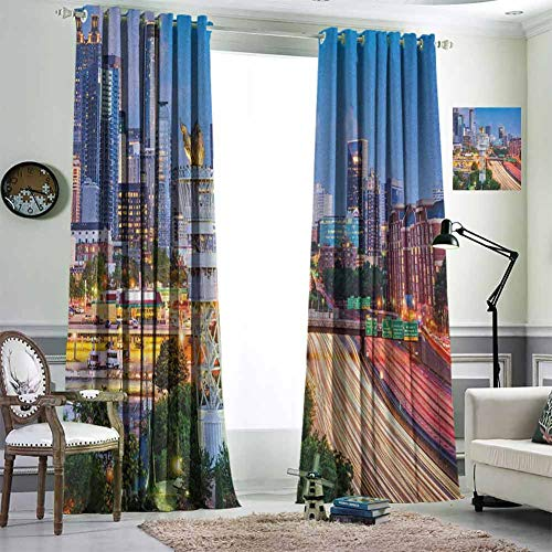 Jktown United States Curtain Grommet Curtain Blackout Draperies for Baby Bedroom 96x108 inch Atlanta Georgia Urban Busy Town with Skyscrapers City Landscape Pale Blue Yellow Coral